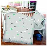 7dreams® Kinder Baby Bettwäsche Baumwolle 100x135cm Kissenbezug 40x60cm (Sterne)