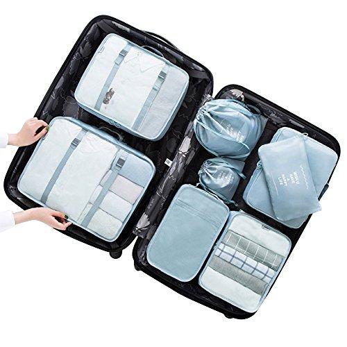 Toilettenartikel-Organisator von Tentock, Kompressionsbeutel, Tasche-in-Tasche, 8-teiliges Set, Gepäck-Organisator, himmelblau (Tasche 8-teilig)