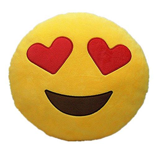 Hintel Emoji Smiley Emoticon Kissen gelb rund Soft Kopfkissen gefüllt Plüsch Spielzeug Puppe Herz Augen Naughty Sonnenbrille Love Devil Poop, Heart Eyes, 32cm * 32cm * 10cm