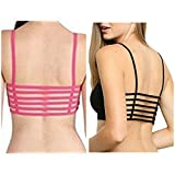 #10: Beyond beauty 6 strap padded bra(removable pads)size:free combo black+ dark pink
