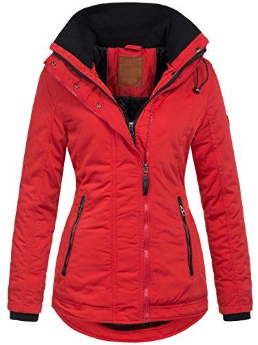 Warme Damen Winter Jacke Winterjacke Kurzmantel Parka S-XXL B509 [B509-Rot-Gr.XXL]
