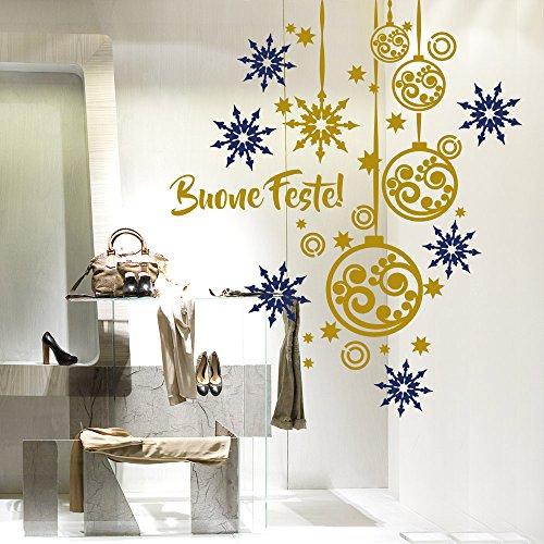 NT0235 Adesivi Murali - Palline con fiocchi di neve - Vetrofanie natalizie - 110x130 cm - blu e oro - Decorazioni vetrine per Natale, stickers, adesivi