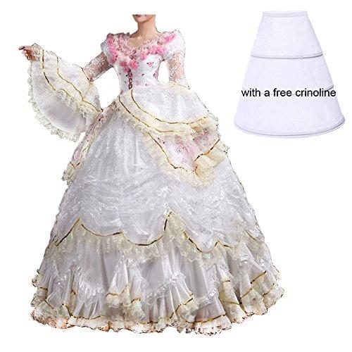 Nuoqi Damen Satin Gothic Viktorianisches Kleid Renaissance Maxi Kostüm (38, CC3394A-NI)