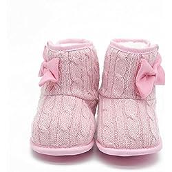 Itaar Zapato para Bebé Primeros Pasos Botita para Bebé Preandante en Tricot con Lazo en el Lateral (11, rosa)