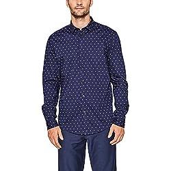 Esprit 087ee2f015, Camisa para Hombre, Azul (Navy 400) 42 (Talla del Fabricante: Small)