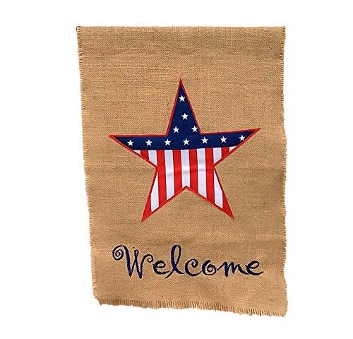 GiftWrap Etc. Geschenkpapier Etc. Kleine Patriotische Jute Garten Flagge-4. Juli, Sommer Yard Decor, rustikaler Rasen Dekorationen, Dekorativer Veranda Flagge, Stars & Stripes, Mini 30,5x 45,7cm