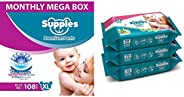 Supples Baby Diaper Pants, Monthly Mega-Box, X-Large, 108 Count & Supples Baby Wet Wipes with Aloe Vera an