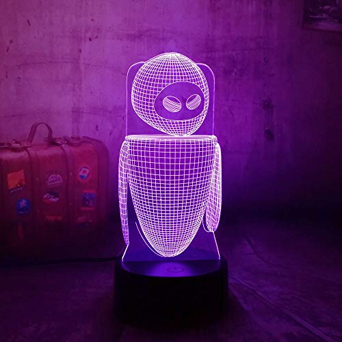 3D Robot Wall-E LED RGB Night Light Carino Lampada da tavolo illusion Art Mood Novità Bulbing Sleeping Light Bambini Regalo per bambini Toy Lava