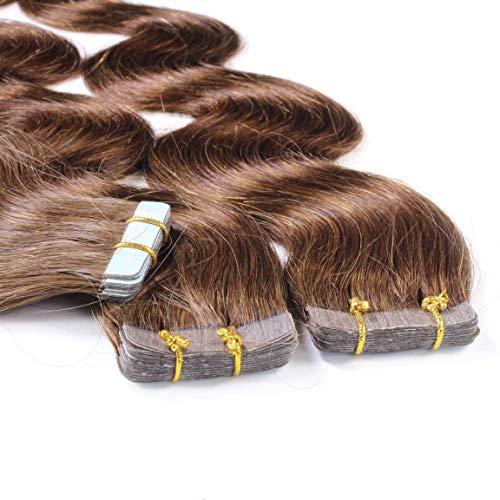 hair2heart 20 x 2.5g Tape In Echthaar Extensions, 40cm - gewellt - #4 braun