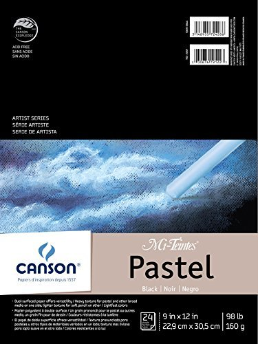 CANSON Mi-Teintes Black Pad for Pastels, 24 Sheets, 9 by 12-Inch by Canson -