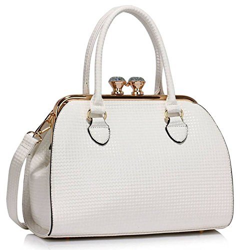 Xardi London, Borsa a spalla donna M, bianco (White Embossed), M