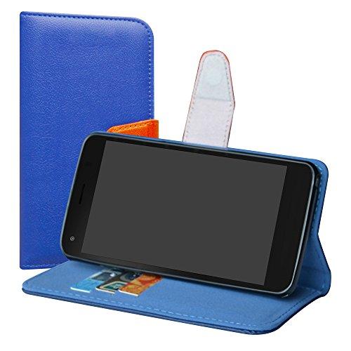 LiuShan Archos 50F Helium Hülle, Brieftasche Handyhülle Schutzhülle PU Leder mit Kartenfächer & Standfunktion für Archos 50F Helium Smartphone (mit 4in1 Geschenk verpackt),Deep Blue