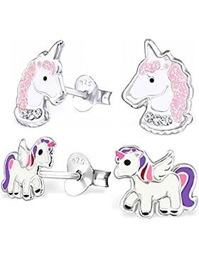 GH* 2 PAAR Kristall Einhorn + Pegasus Ohrstecker 925 Echt Silber Mädchen Kinder Pferde Ohrringe