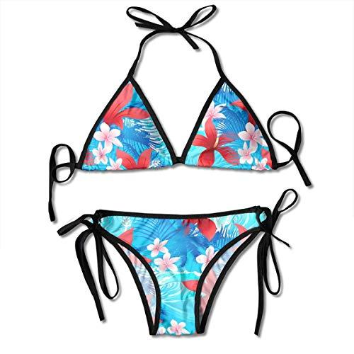 UIUOFA Bikinisets, Tropical Red Hibiscus Flowers Damen Sexy Triangel Badeanzug Tanga Bikinisets (Tankini Hibiscus)