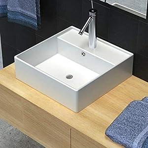 Tidyard Lavabo Cuadrado Cerámica con Un Desbordamiento Está Equipado de Diseño Moderno y Elegante 41×41 cm Blanco