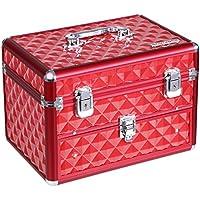 Songmics Maletín para Maquillaje de Uñas Caja de Belleza Estuche de Cosméticos Organizador para Manicura Esmaltes de Aluminio 28,5 x 19,5 x 20 cm Rojo Con Cajones JBC317R