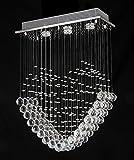 Dst moderne coeur transparent verre de cristal goutte de pluie pendentif lustre, plafonnier lustre éclairage pour salon, salle à manger, étude chambre chambre L50cm W20cm H70cm
