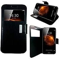 Mit - Funda libro Flip Cover con Tapa y Ventana para Huawei G8 y GX8 Negro