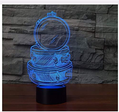 3D Babyzimmer Music Drum Set Tisch Schreibtischlampe 7 Farben Ändern Acryl Nachtlicht Usb Schlafzimmer Nacht Dekor Kinder Geschenke Schlaf Beleuchtung Licht Box (Music Box Frankreich)