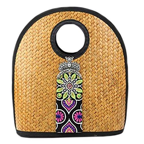 Bambus-doppel-griff-handtasche (handgemachter stickerei stricken / weben bambus rattan stroh handtasche / umhängetasche)