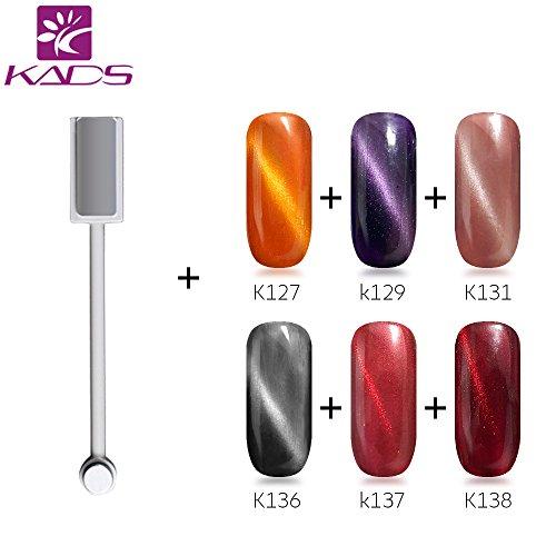 KADS Cat eyes UV nagellack Clavuz Katz augen set Nail Gel Polish soak off Nagelgel,6 Farben Geschenk Kit,1x Magnet