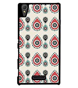 Fuson Premium Oval Design Metal Printed with Hard Plastic Back Case Cover for Sony Xperia T3
