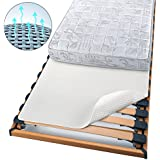 Beautissu Protector BEAUTECT embellecedor cubre somier colchón con nudos Tex ecológico Siegel Lavable blanco 90x200 cm