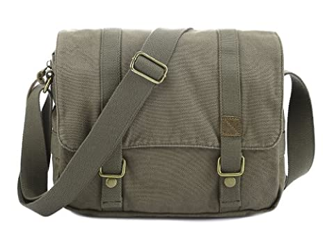 sulandy@New Men womens Canvas+Leather Shoulder Bag Messenger Bag School Bag purse (army green)