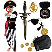 Tacobear Pirate Costume for Kids with Pirate Accessories Pirate Hat Pirate Eyepatch Dagger Compass Purse Earring Gold Medallion Pirate Fancy Dress Halloween Costume Boy Kids