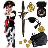 Tacobear Costume Pirata Bambino con Accessori Pirata Eyepatch pugnale Bussola Borsa orecchino Medaglione d'oro Costume di Halloween per Bambini Pirata Fancy Dress Ragazzo (M (6-8 Anni))