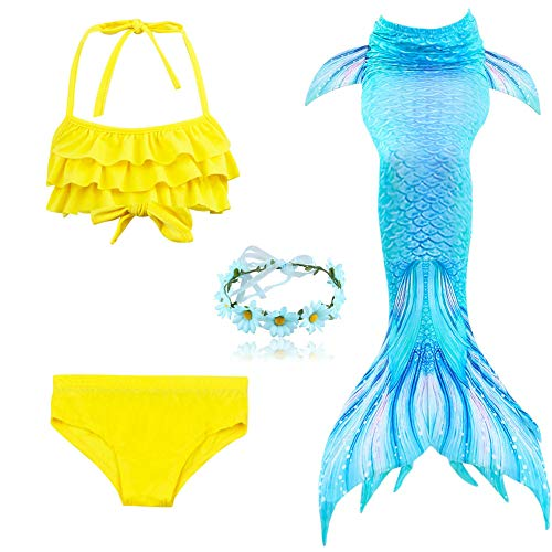 Crystal Drill 3PCS Mermaid Tail für Girls/Swimsuit Swimming Tropical Bikini, Cosplay Pool Party Swimsuit,Blue+Yellow,XL