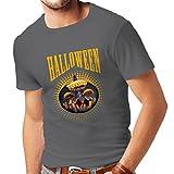 lepni.me Camisetas Hombre Calabaza de Halloween - Ideas del Traje del Partido 2017 (Large Grafito