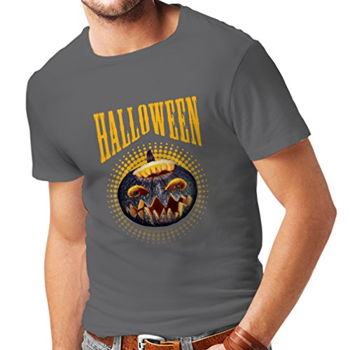 lepni.me Männer T-Shirt Halloween Kürbis - Party Kostüm Ideen 2018 (XXX-Large Graphit ()