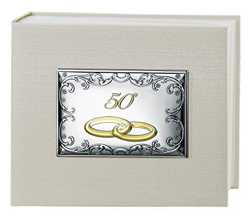 Album portafoto tela panna 50° anniversario matrimonio nozze d'oro cm 25x20 placca rettangolare centrale tema barocco bi laminata argento rifinita made in italy