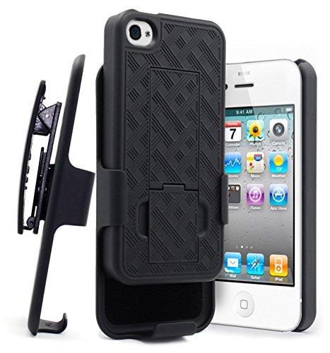 ne 4s Fall, nagebee schwarz Drehgelenk Slim Gürtelclip Armor Schutzhülle, Defender Cover Shell Combo Schutzhülle für Apple iPhone 4/4S, schwarz ()