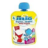 Nestlé Mio Merenda Frutta e Yogurt da Spremere Mela e Fragola da 6 Mesi senza Glutine, 90 ml (Confezione da 16)