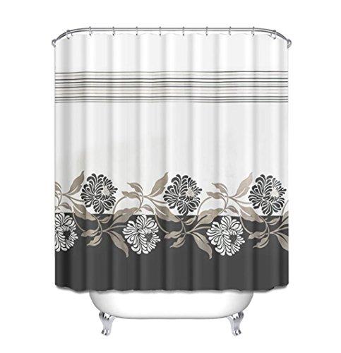 Rideau de douche, épaisseur de polyester imperméable à l'eau Protection de l'environnement Mildew 150 * 200cm (Black Chrysanthemum) Rideau de douche de style européen ( Size : 120*200cm(47*79inch) )