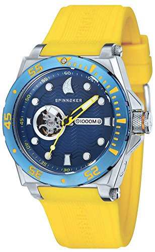 Spinnaker Overboard 1000m Helium Release Water Resistant Diver Men's Automatic Watch with Blue Dial Display on Yellow Silicon Strap SP-5023-06
