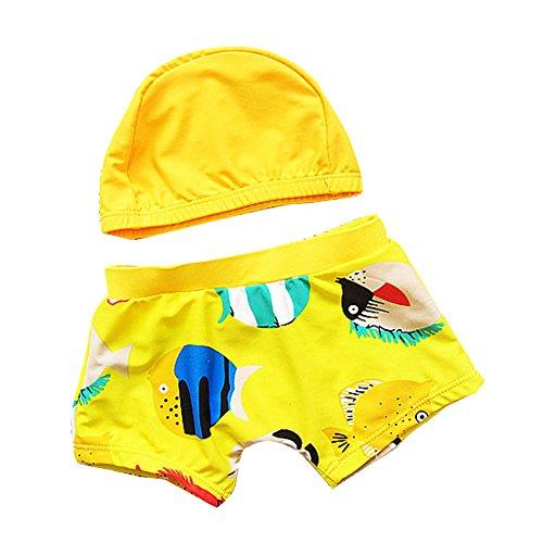 Baby Mädchen Jungen Schwimmbekleidung Badeshorts Badehose Badeanzug Bademode Mit Hut / Gelb L