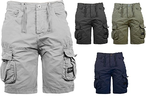 Crosshatch New Mens Branded Canvas Cargo Style Shorts Pockets Waist 32