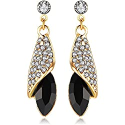 Crunchy Fashion Jewellery Gold Plated Black Crystal Dangle & Drop Earrings For Women