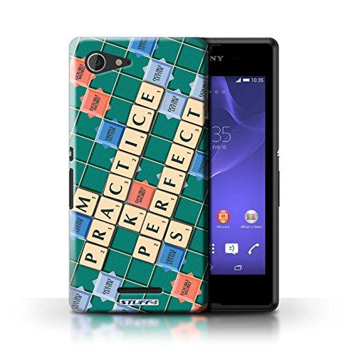 Kobalt® Imprimé Etui / Coque pour Sony Xperia E3 / Lutte Incendie conception / Série Mots de Scrabble Pratique Parfaite