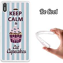 Funda de Gel Silicona TPU Flexible para bq Aquaris X5 BeCool Keep Calm and Eat Cupcakes