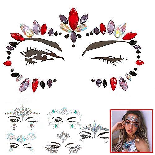 Face Sticker - Amphia Stickers Gesicht Aufkleber Face Tattoo für Augen Gesicht - Juwelen Aufkleber Gesicht Strass Tattoo Körper Kristall Glitter Edelstein Make-Up Haut Kunst (6 Stück) - Juwelen Tattoos