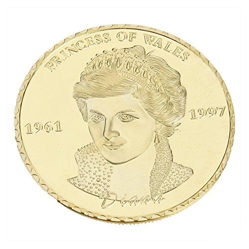 LanLan Jouets Réveils éducatifs Pièce commémorative de pièce en métal Vintage de pièces de Collection Vintage en Cadeau Queen Diana