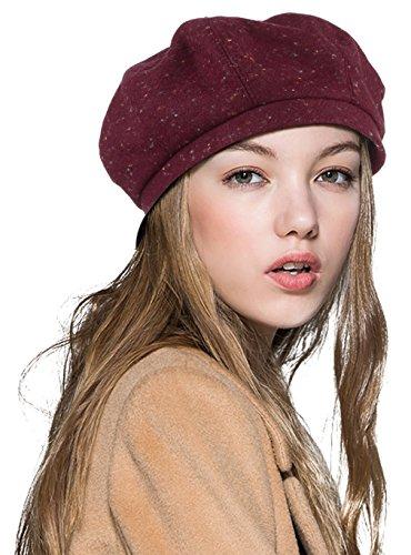 MARRYME Boina para Mujer Octogonal Sombrero de Vintage Señora Invierno Caliente Rojo