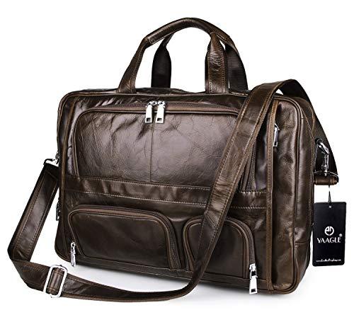 YAAGLE Europäisch echtes Leder Business Taschen Herren groß 17 zoll Laptoptasche Schultertasche Reisetasche-coffee