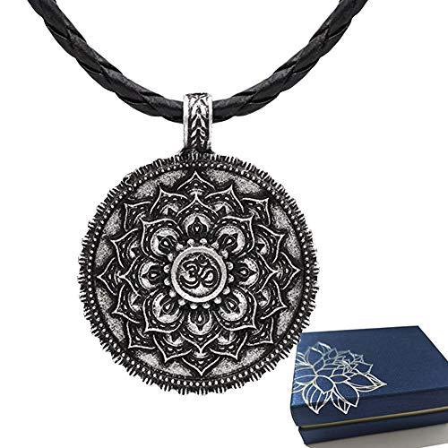 BBYaki Vintage Antik Silber Om, buddhistischer Mandala-Anhänger, Halskette Lotusblüte, Zen, Yoga-Amulett, religiöser Schmuck, Leder