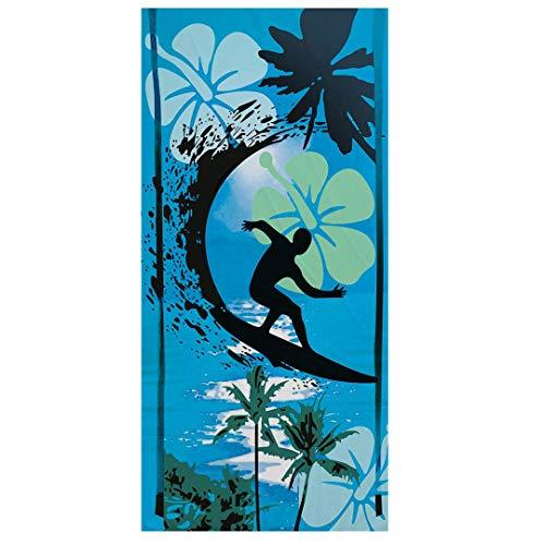 Sticker Superb Strand Sport Handtuch,Platz,Kokosnuss Baum Print,Mikrofaser,Strandtuch Verhinderung von Sand,Schwimmen, Surfen, Fitness, Yoga, Wickelrock, Reisen, Dekoration (Blau Surfen)