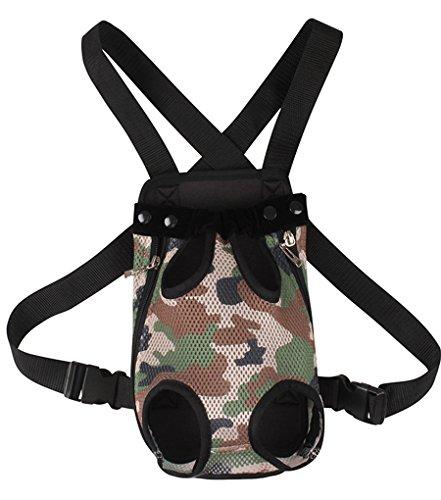 YOUJIA Masche Haustier Rucksäcke Hundetragetasche, Hund Katze Transporttasche Carrier Tasche Vorne Brust Rucksack (#3 Tarnung, L) - Hunter Green-drei Taschen